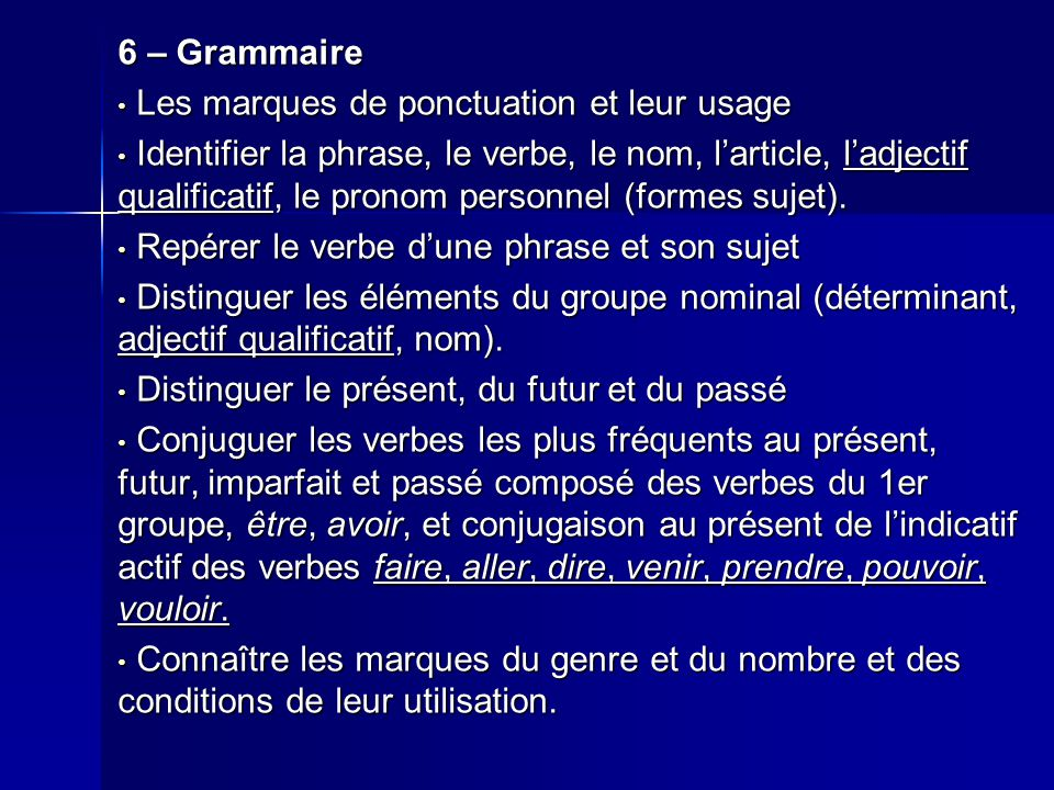 6 – Grammaire Les marques de ponctuation et leur usage.