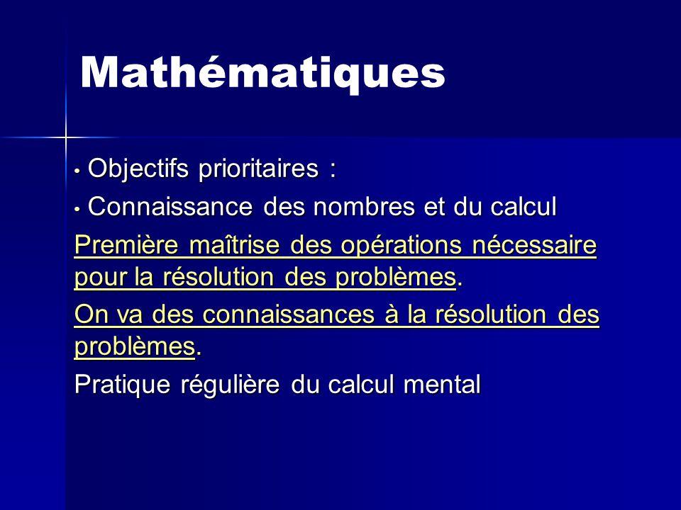 Mathématiques Objectifs prioritaires :