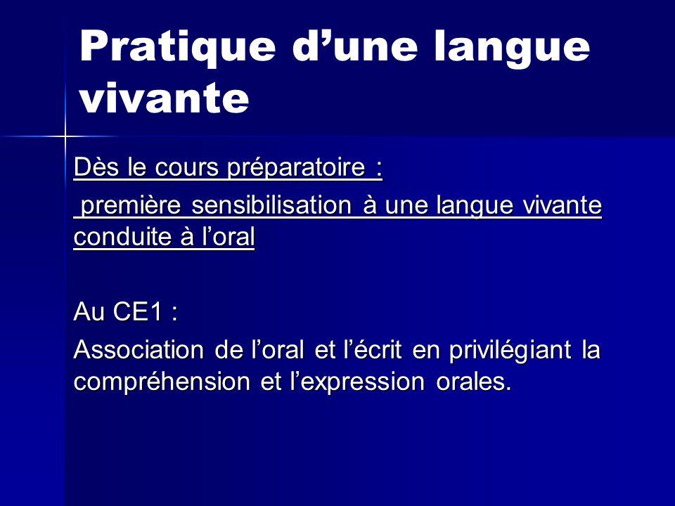 Pratique d'une langue vivante