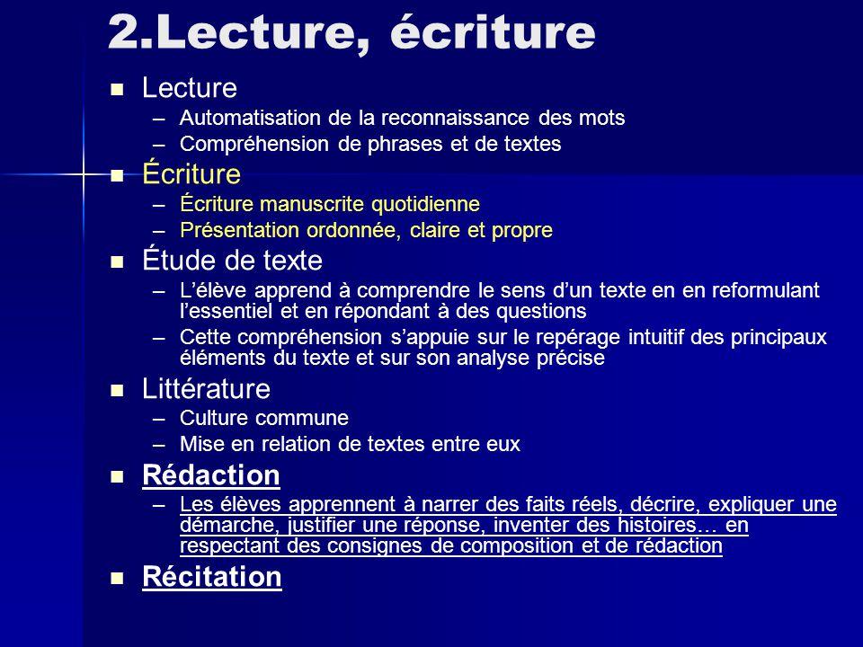 2.Lecture, écriture Lecture Écriture Étude de texte Littérature