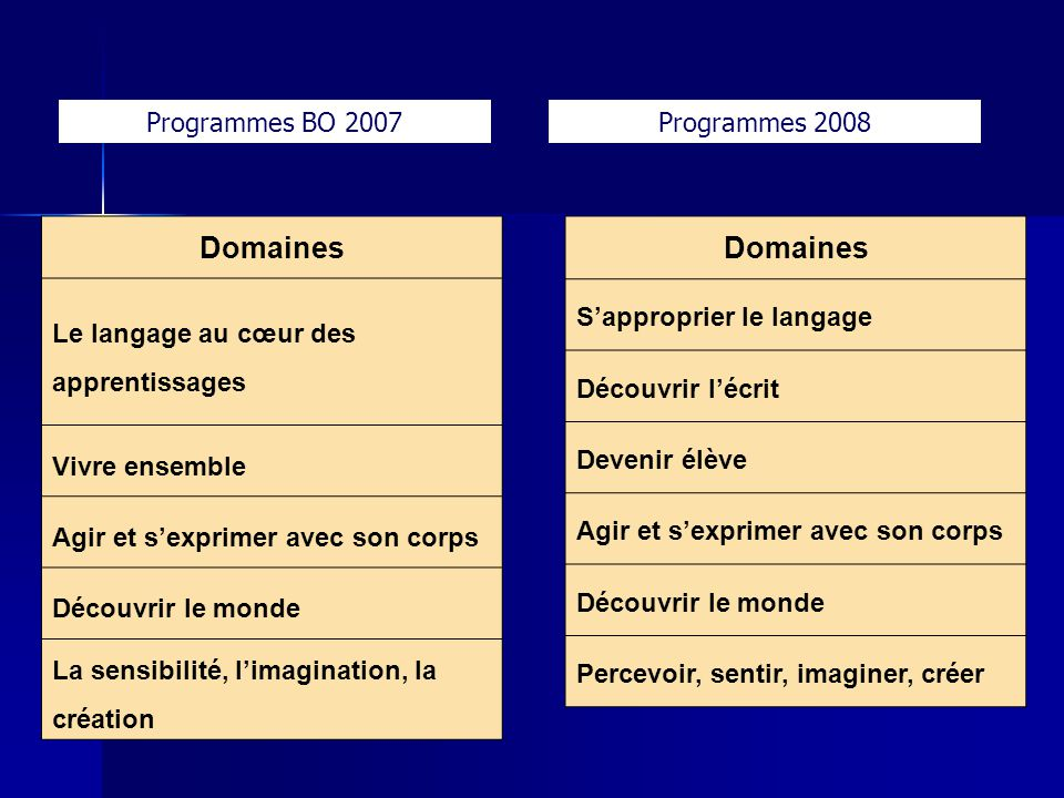 Domaines Domaines Programmes BO 2007 Programmes 2008