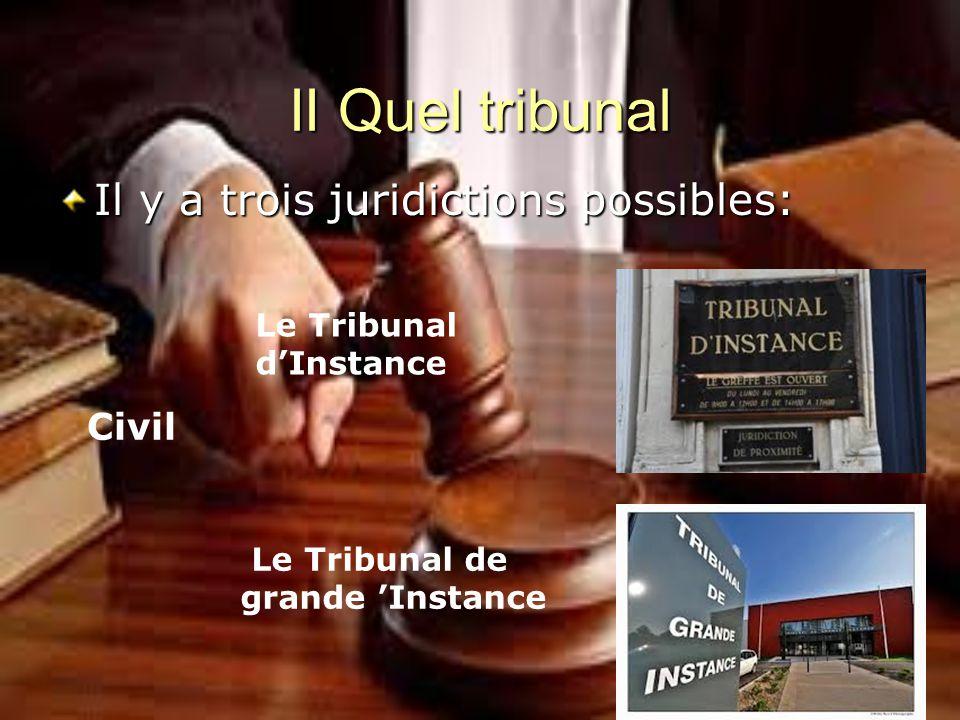 II Quel tribunal Il y a trois juridictions possibles: Civil