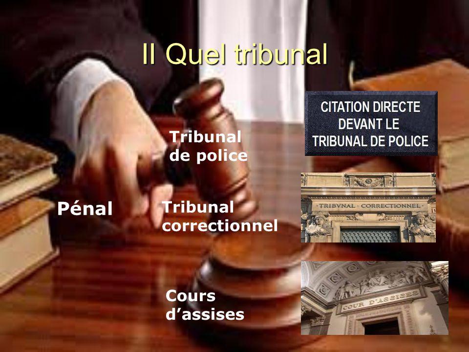 II Quel tribunal Pénal Tribunal de police Tribunal correctionnel