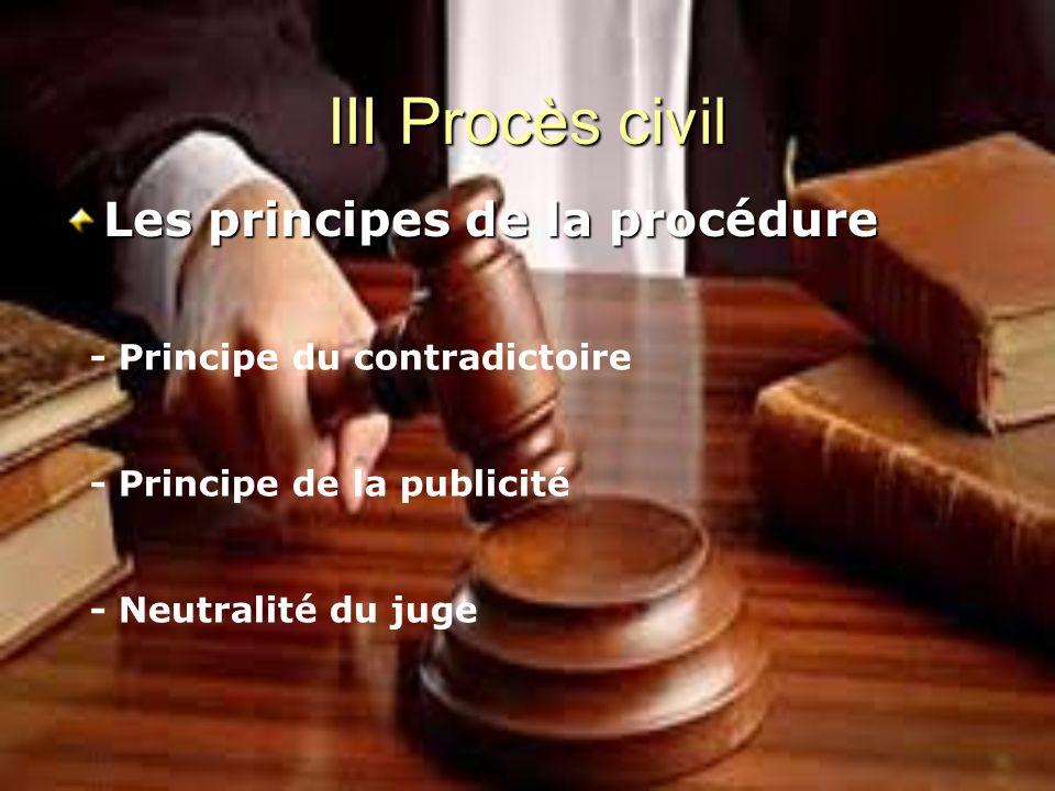 III Procès civil Les principes de la procédure
