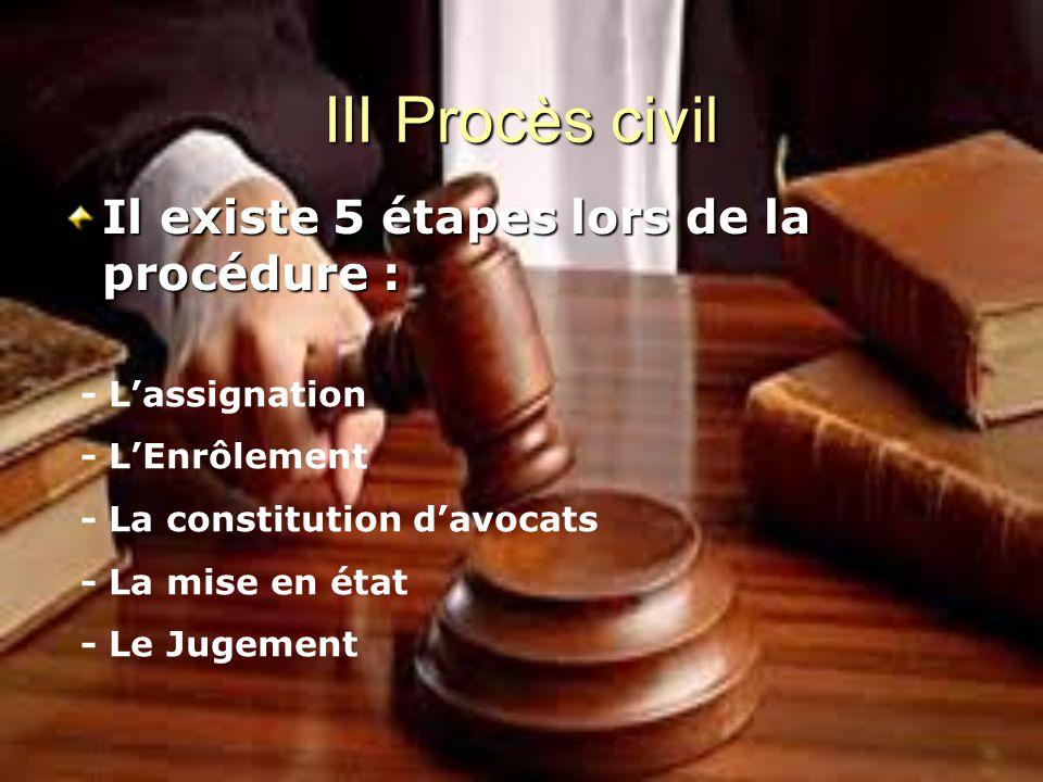 III Procès civil Il existe 5 étapes lors de la procédure :