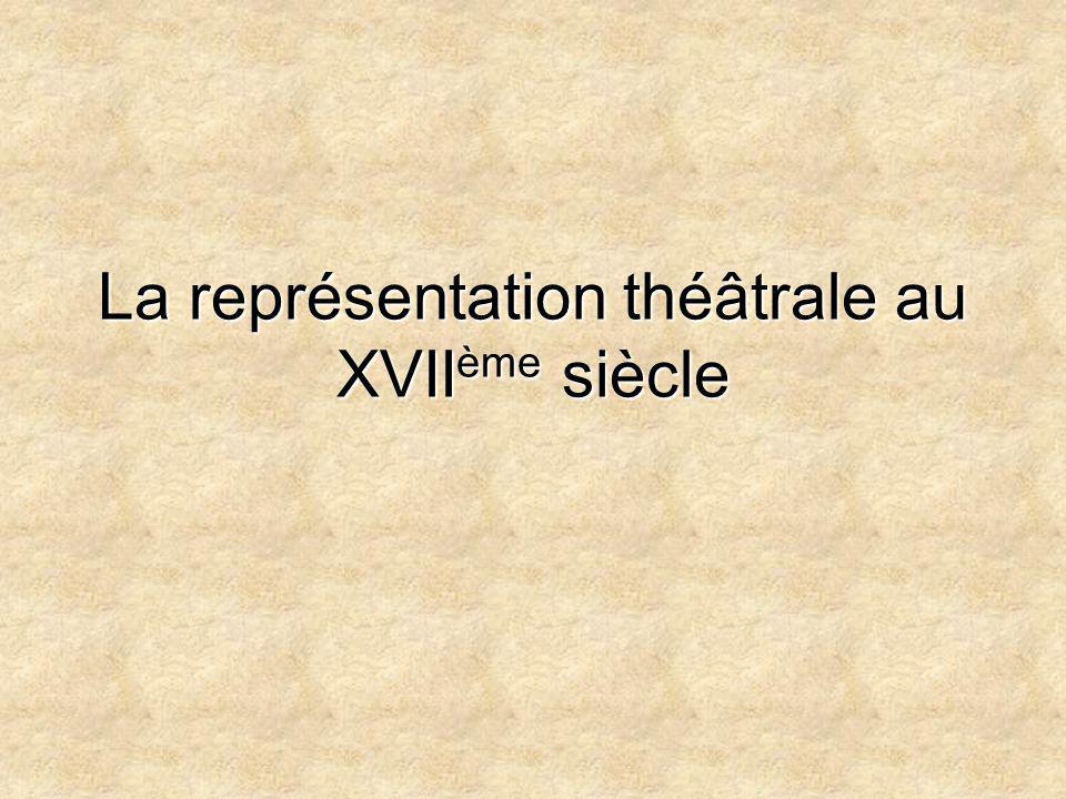 La représentation théâtrale au XVIIème siècle