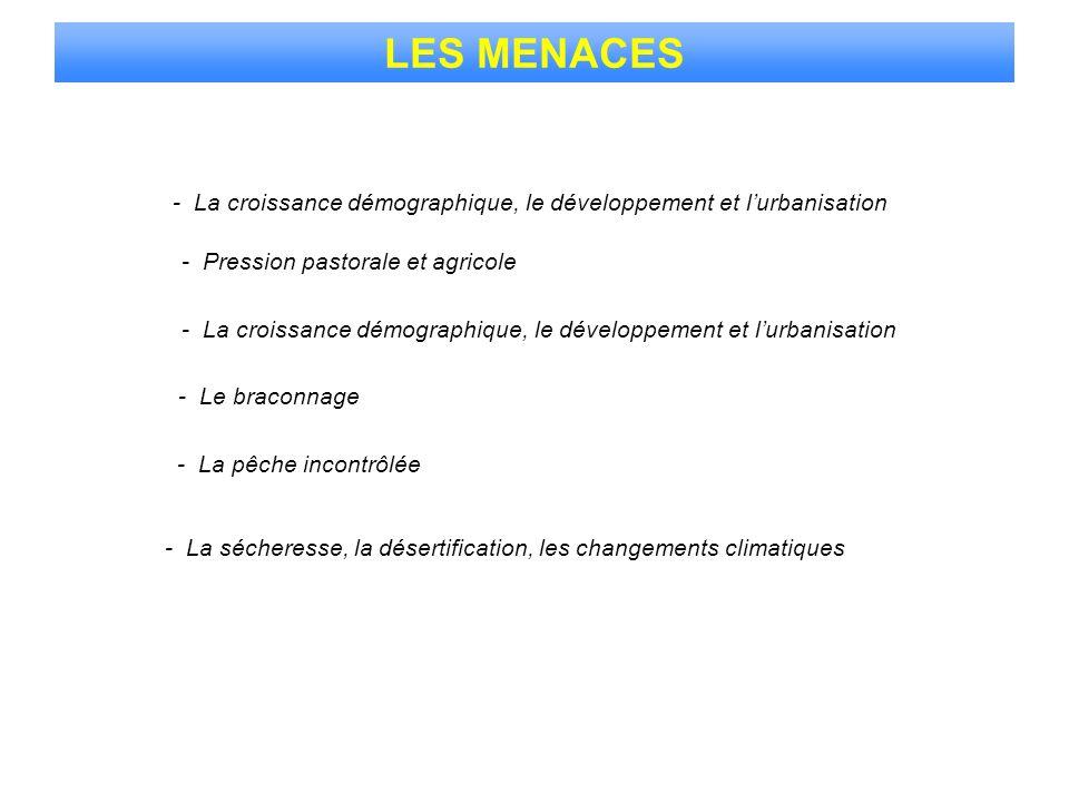 LES MENACES- La croissance démographique, le développement et l'urbanisation. - Pression pastorale et agricole.
