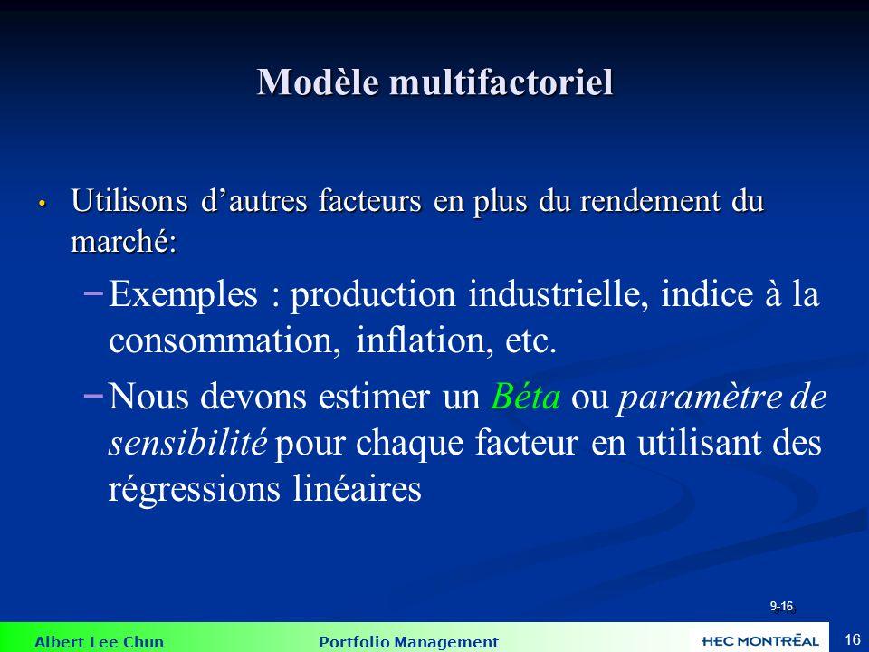 Exemple du modèle multifactoriel