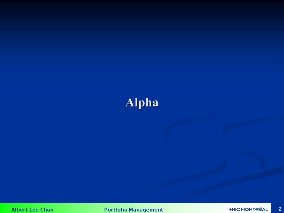 Alpha Supposons qu'un actif a un  et une espérance de rendement de 17%. Selon le MEDAF, nous avons une espérance de rendement de 14,8%.