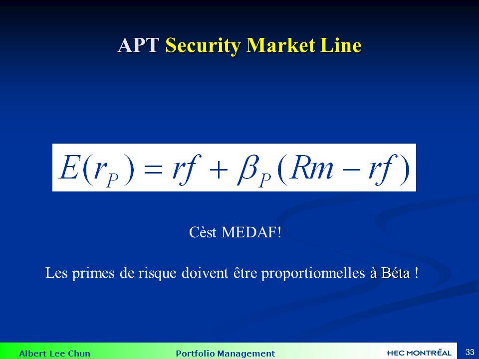 APT vs MEDAF APT s'utilise dans le cas d'un portefeuille bien diversifié, pas nécessairement pour des actions individuelles (MEDAF)