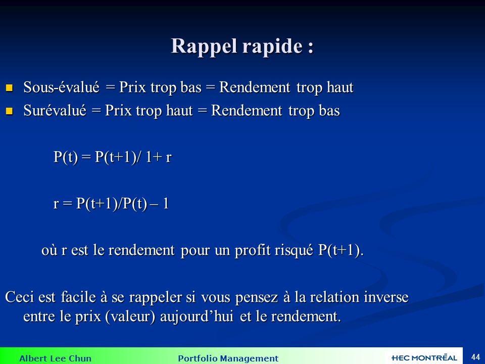 Exemple 9.3 et 9.4 Portefeuille de facteur 1: E(R1) = 10%