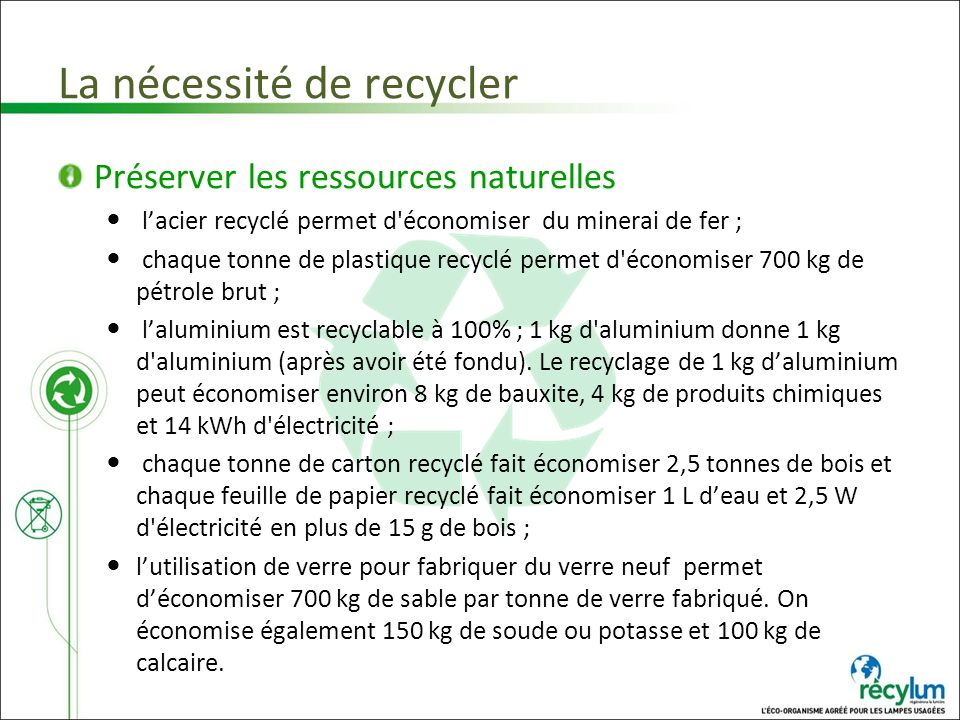 La nécessité de recycler