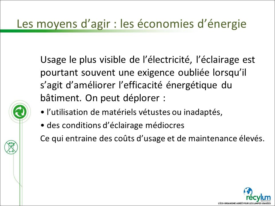 Les moyens d'agir : les économies d'énergie
