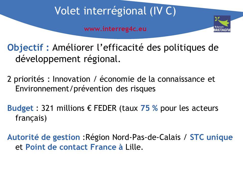 Volet interrégional (IV C) www.interreg4c.eu