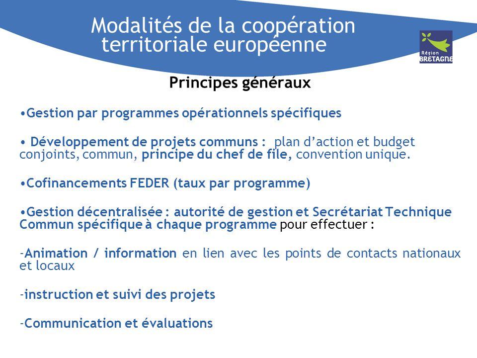Modalités de la coopération territoriale européenne