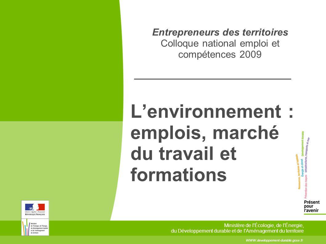 L'environnement : emplois, marché du travail et formations