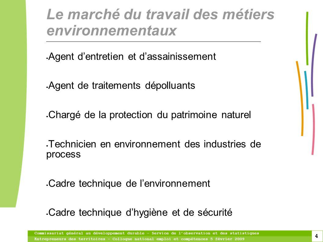 Le marché du travail des métiers environnementaux