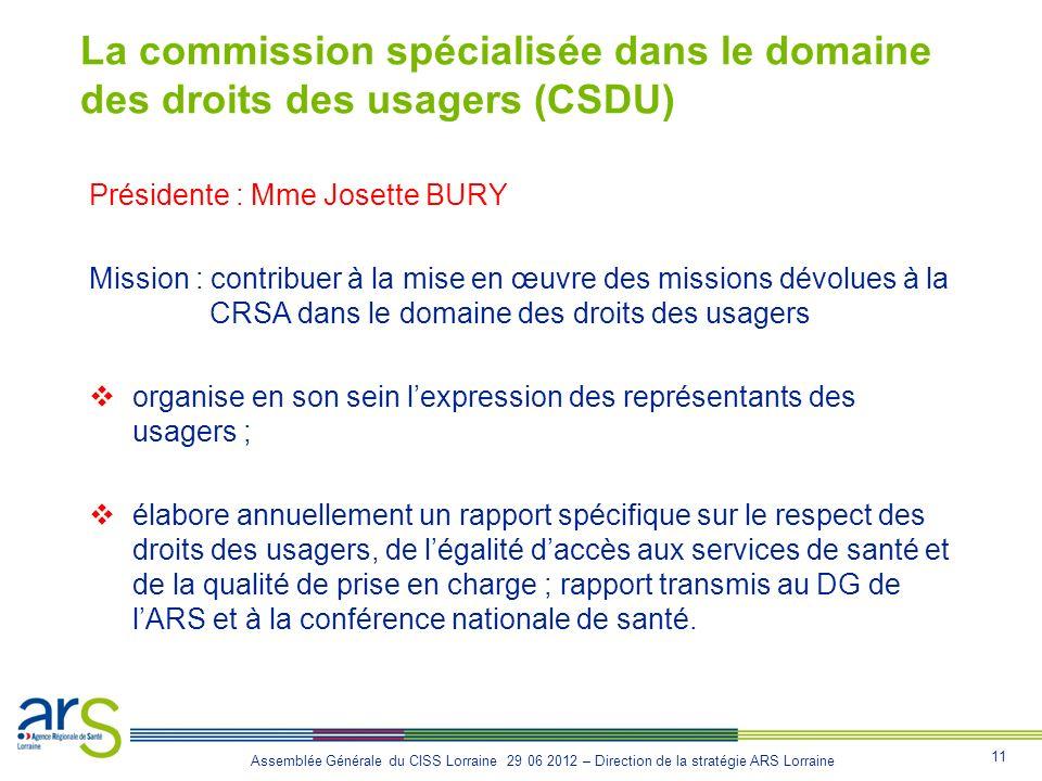 La commission spécialisée dans le domaine des droits des usagers (CSDU)