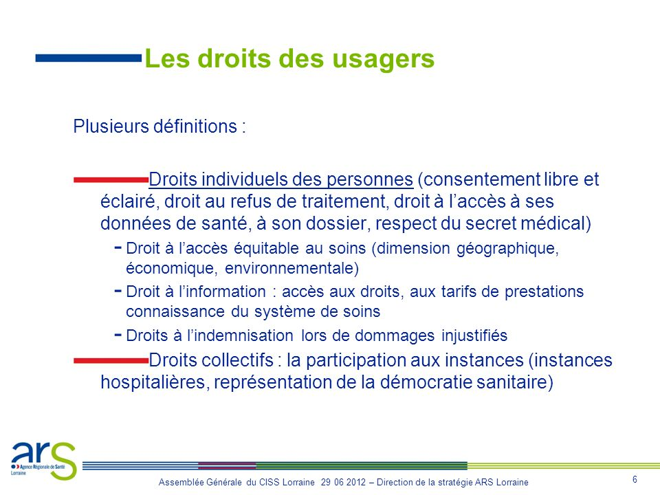 Les droits des usagers Plusieurs définitions :