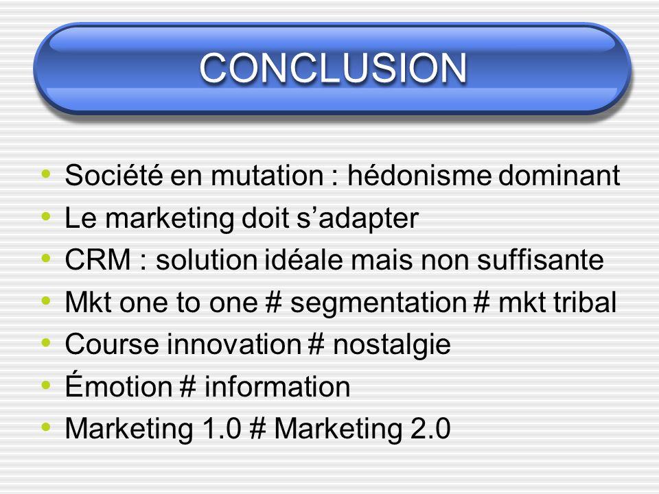 CONCLUSION Société en mutation : hédonisme dominant