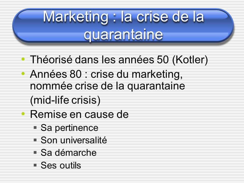 Marketing : la crise de la quarantaine