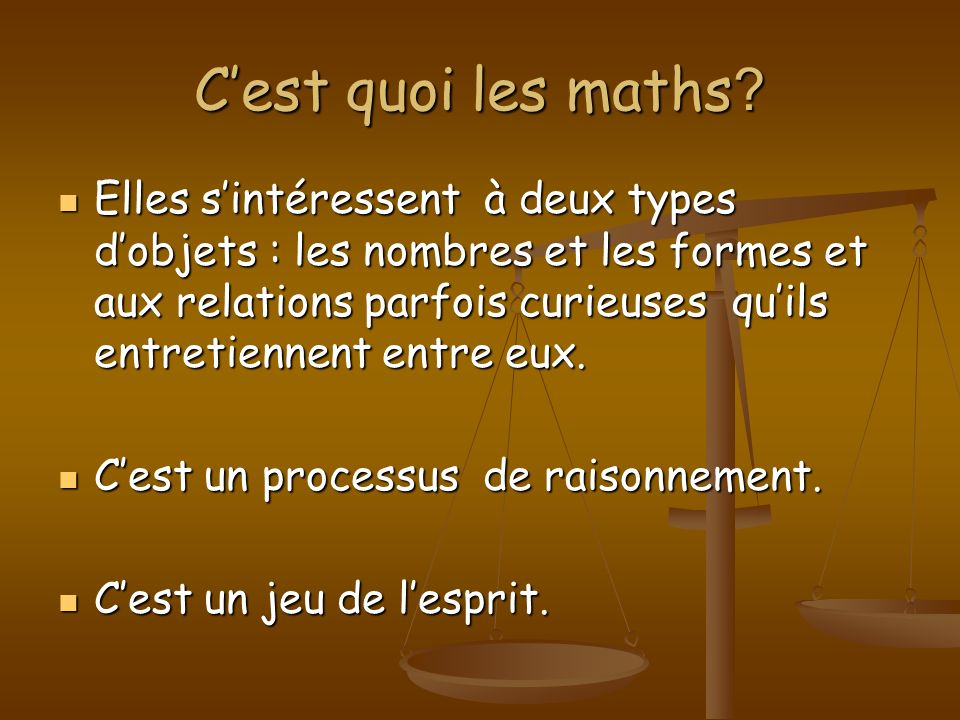 C'est quoi les maths