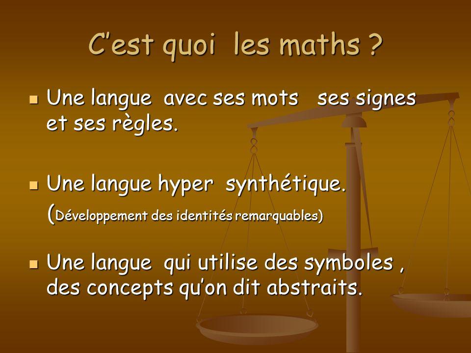C'est quoi les maths Une langue avec ses mots ses signes et ses règles. Une langue hyper synthétique.