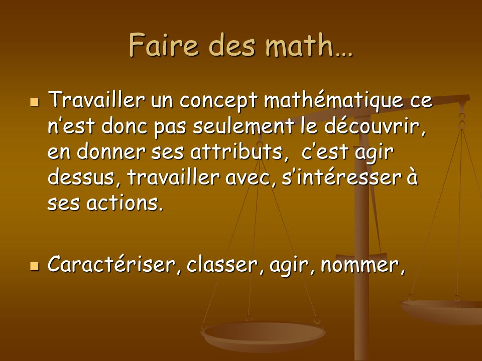 Faire des math…