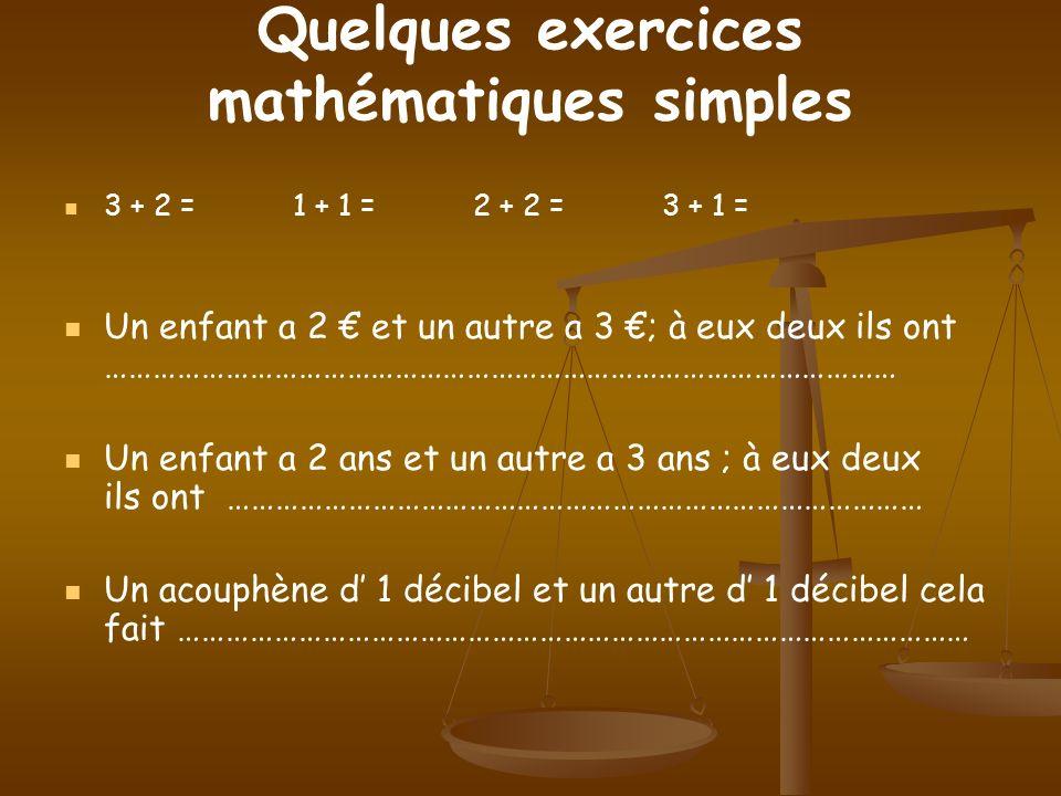 Quelques exercices mathématiques simples