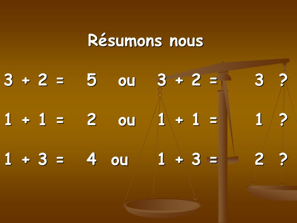Résumons nous 3 + 2 = 5 ou 3 + 2 = 3. 1 + 1 = 2 ou 1 + 1 = 1