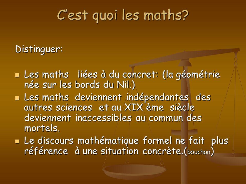 C'est quoi les maths Distinguer: