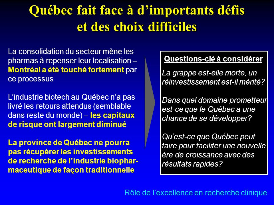Québec fait face à d'importants défis et des choix difficiles