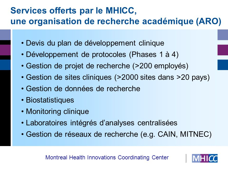 Montreal Health Innovations Coordinating Center