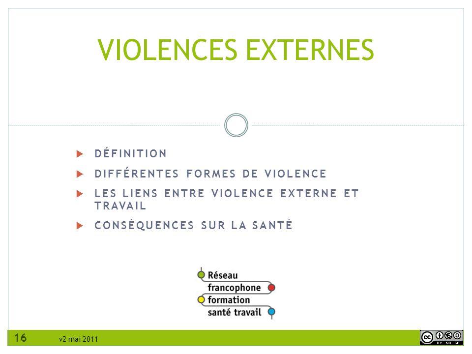 VIOLENCES EXTERNES Définition Différentes formes de violence