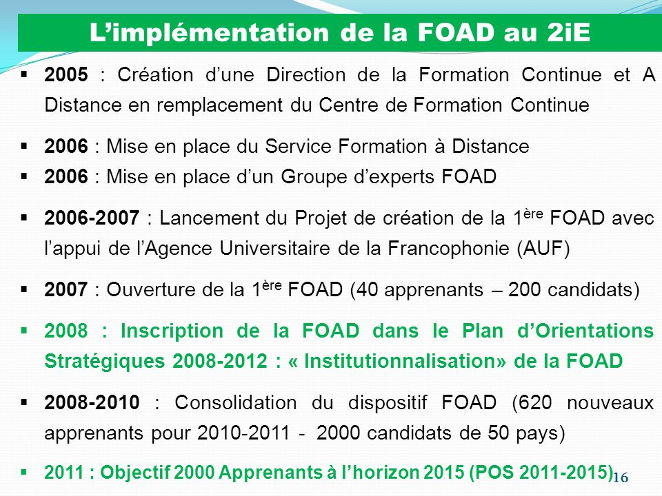 L'implémentation de la FOAD au 2iE