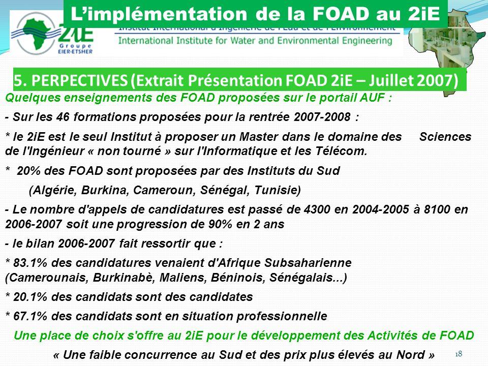 5. PERPECTIVES (Extrait Présentation FOAD 2iE – Juillet 2007)