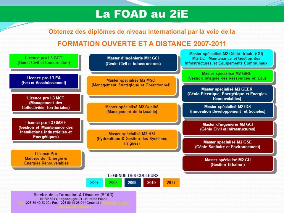 La FOAD au 2iE FORMATION OUVERTE ET A DISTANCE 2007-2011