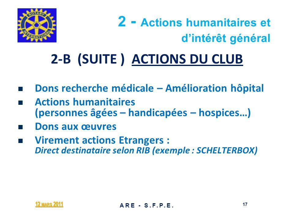 2 - Actions humanitaires et d'intérêt général