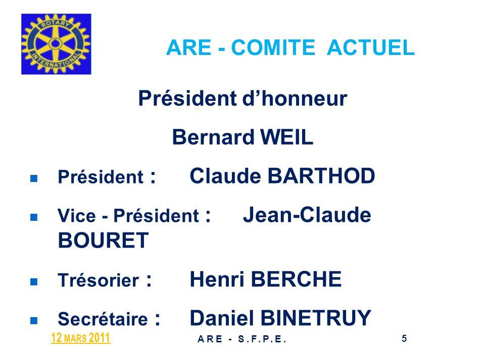 ARE - COMITE ACTUEL Président d'honneur Bernard WEIL