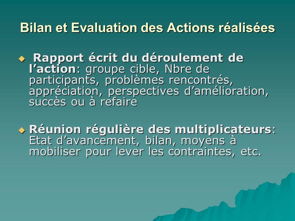 Bilan et Evaluation des Actions réalisées