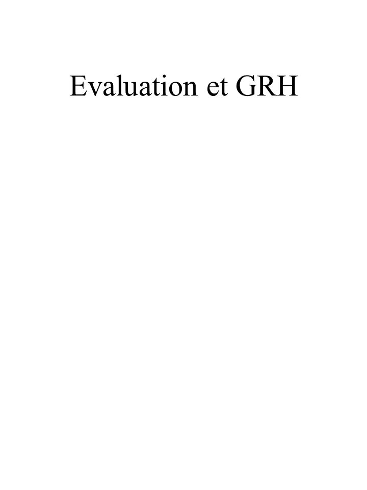 Evaluation et GRH