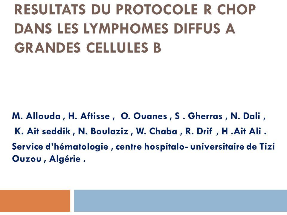 RESULTATS DU PROTOCOLE R CHOP DANS LES LYMPHOMES DIFFUS A GRANDES CELLULES B