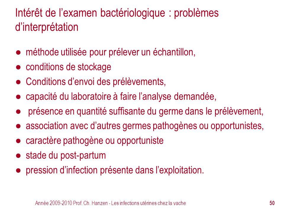 Intérêt de l'examen bactériologique : problèmes d'interprétation