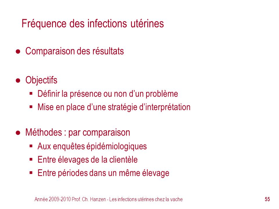 Fréquence des infections utérines