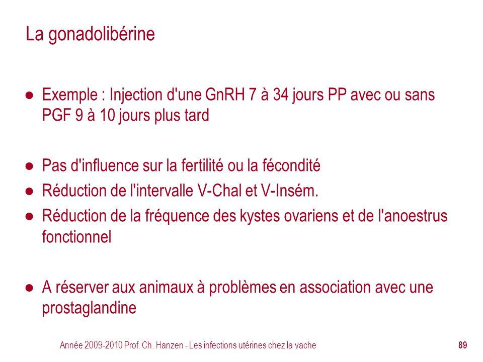 La gonadolibérine Exemple : Injection d une GnRH 7 à 34 jours PP avec ou sans PGF 9 à 10 jours plus tard.