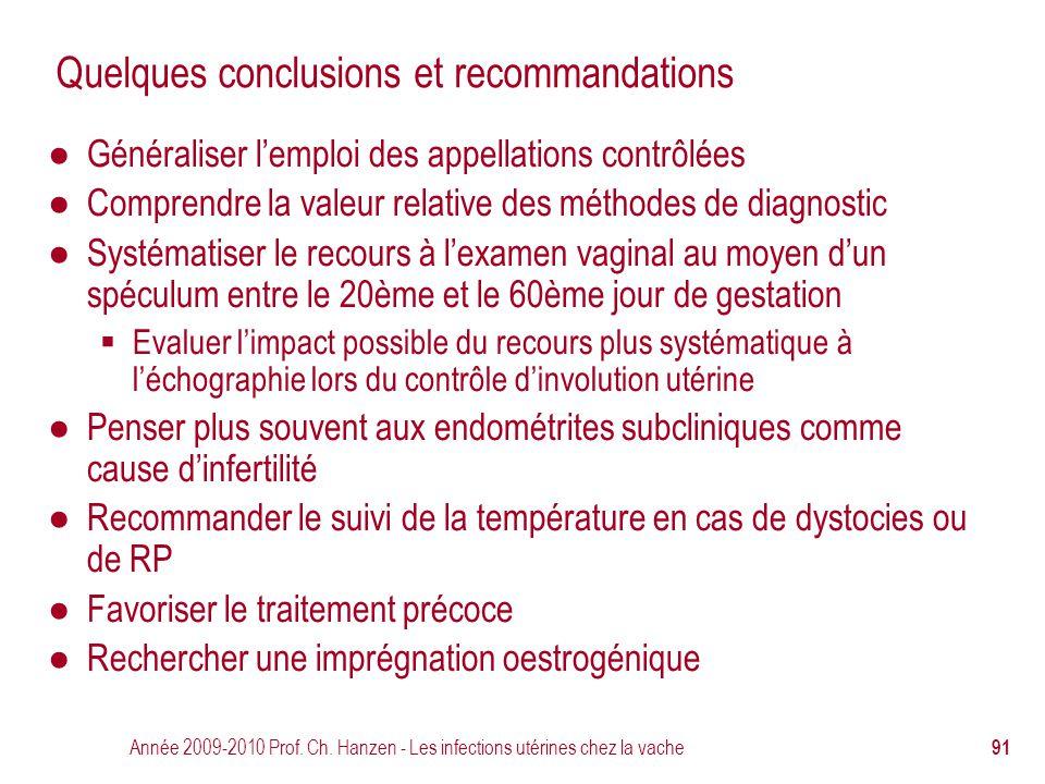 Quelques conclusions et recommandations