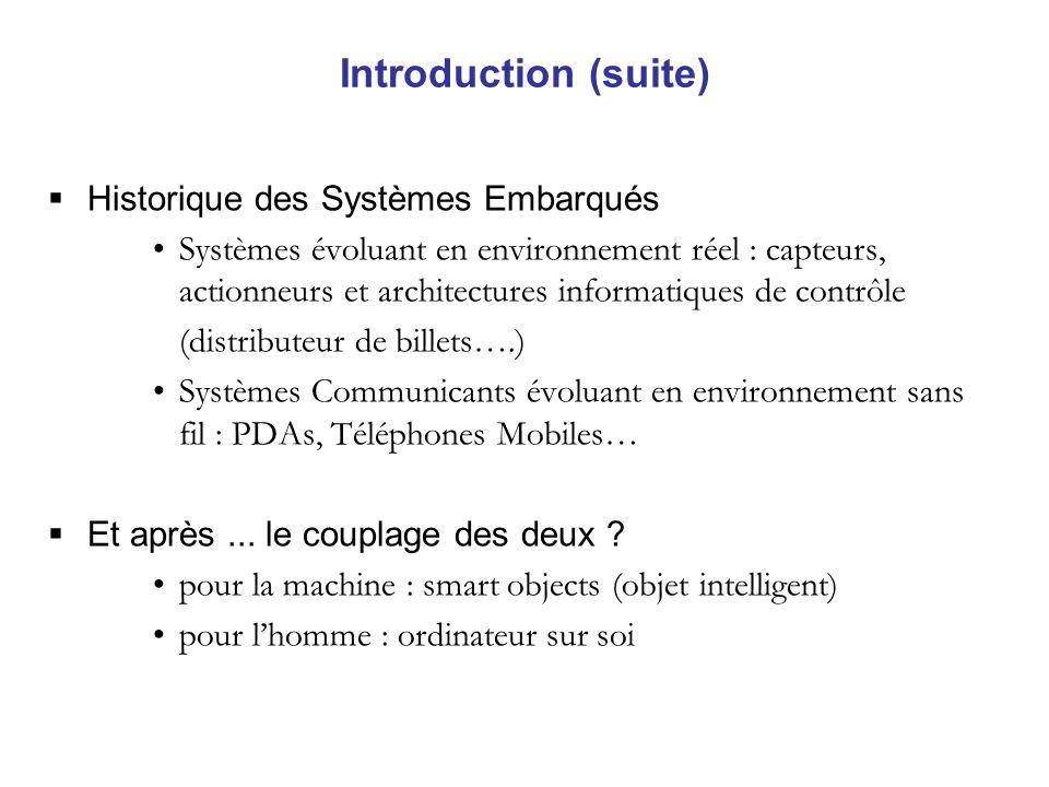Introduction (suite) Historique des Systèmes Embarqués