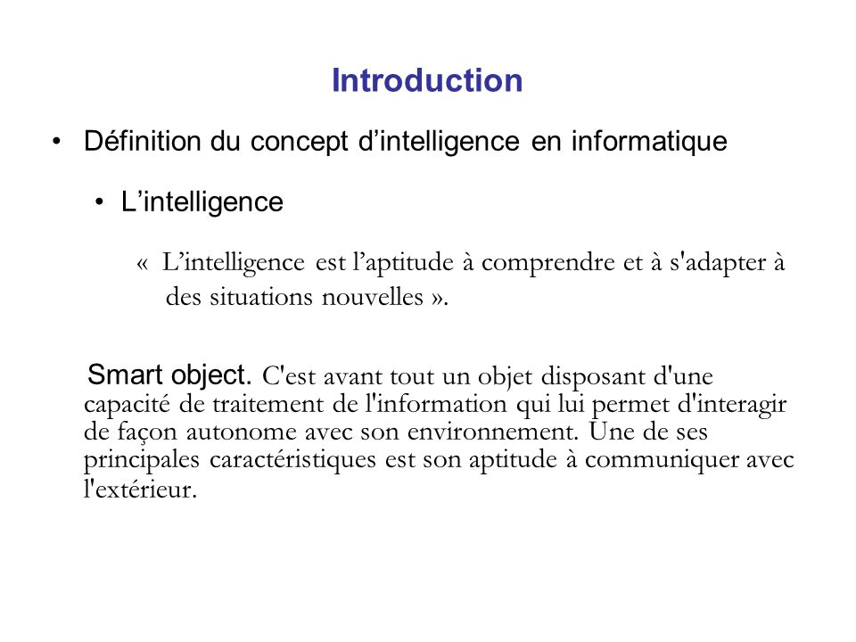 Introduction Définition du concept d'intelligence en informatique