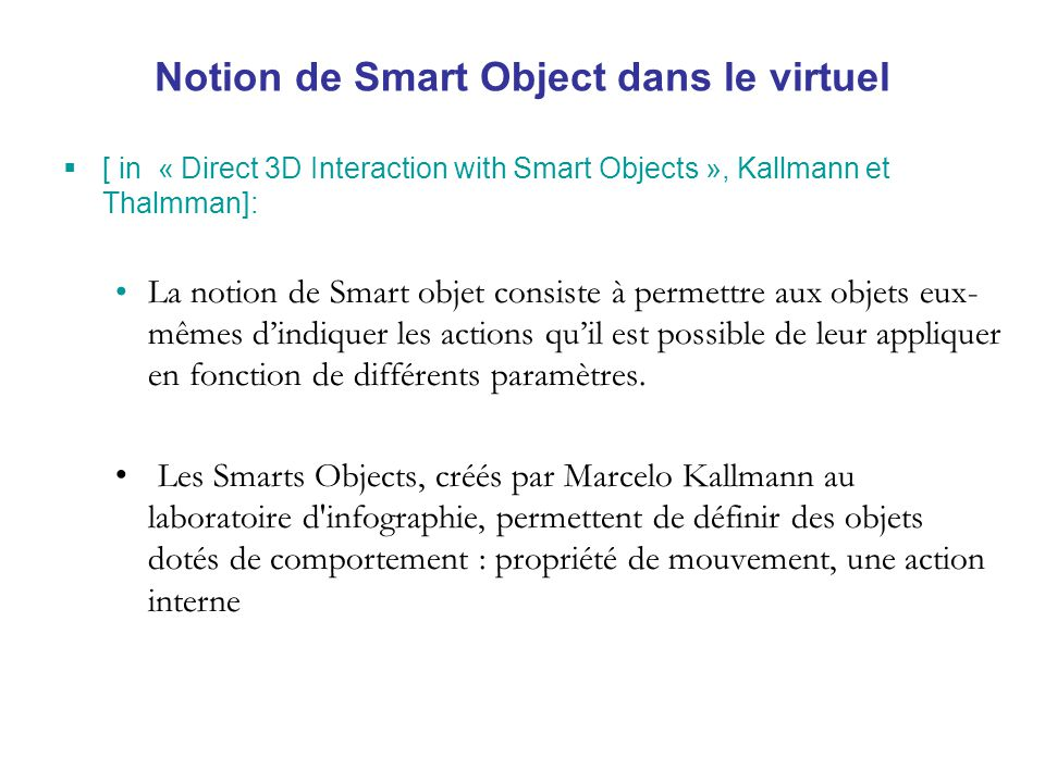 Notion de Smart Object dans le virtuel
