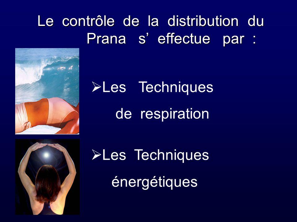 Le contrôle de la distribution du Prana s' effectue par :